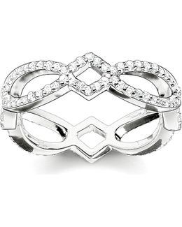 Eternity Of Love Sterling Silver And Pavé Zirconia Infinity Ring
