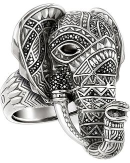 Elephant Head Sterling Silver Ring