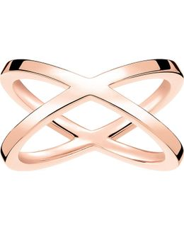 Criss-cross 18ct Rose Gold-plated Ring