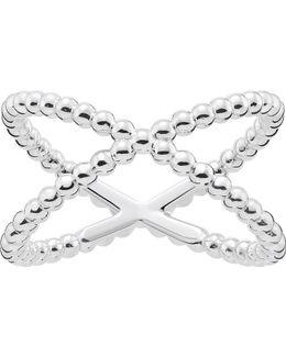 Criss-cross Dot Sterling Silver Ring