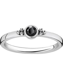 Royalty Black Stone Sterling Silver Stacking Ring