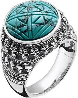 Rebel At Heart Mini Skulls Sterling Silver Signet Ring