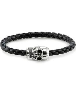 Unity Plaited Leather Skull Head Bracelet