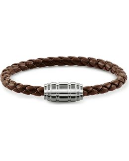 Unity Plaited Leather Branded Clasp Bracelet