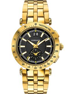 Vah07 0016 V-race Gold-toned Stainless Steel Watch