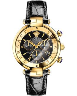 Vaj04 0016 Leather And Gold-toned Watch