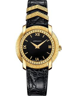 Vam030016 Dv25 Round Gold-plated And Leather Watch