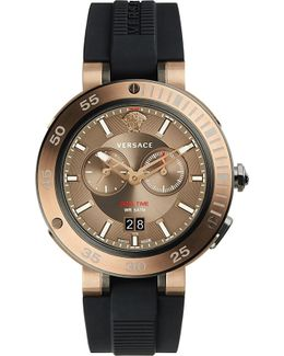 V-extreme Bronze Ip Stainless Steel And Silicone Watch