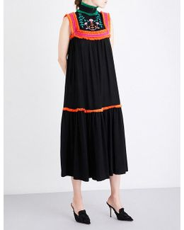 Ladies Floral Glamour Floral-embroidered Ruffle-trim Twill Maxi Dress