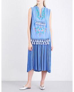 Floral-embroidered Tassel-detail Crepe Midi Dress