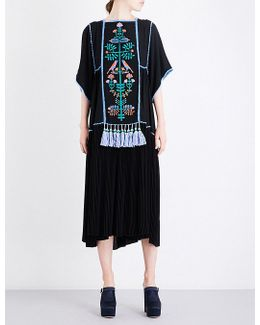 Ladies Tassel Glamour Floral-embroidered Tassel-detail Crepe Midi Dress