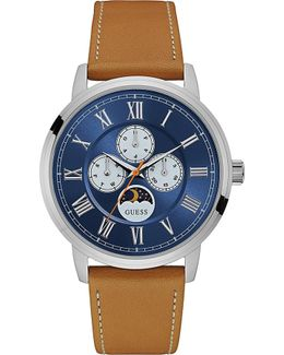 W0870g4 Delancy Stainless Steel And Leather Watch