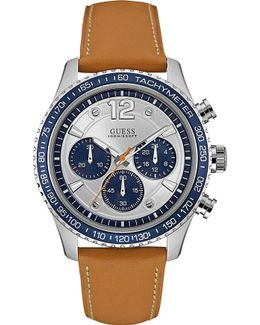 W0970g1 Fleet Stainless Steel And Leather Chronograph Watch