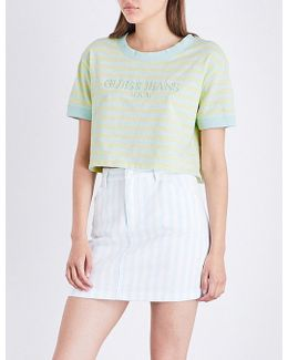 Guess Originals X A$ap Rocky Logo-embroidered Cotton-jersey Cropped Top
