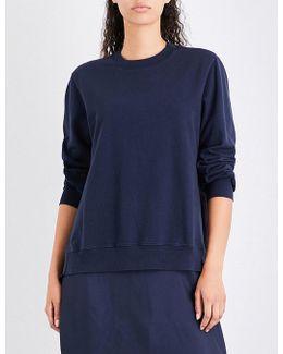 Ruched-panel Cotton-jersey And Silk-satin Sweatshirt