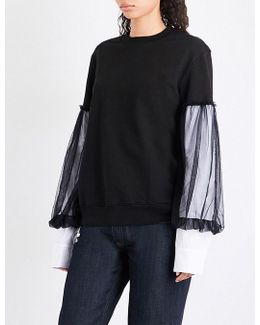 Contrast-sleeve Cotton Sweatshirt