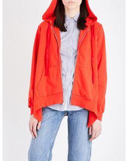 Asymmetric Cotton-jersey Hoody
