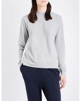 Draped-back Cotton-jersey Sweatshirt