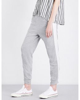 Ladies Blue Striped Luxury Striped-detail Skinny Cotton And Silk Jogging Bottoms