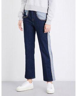 X Gigi Hadid Contrast Panel Bootcut High-rise Jeans