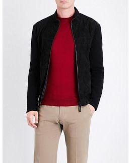 Knitted-sleeve Suede Jacket