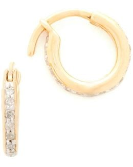 Pave Huggie Hoop Earrings