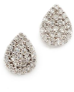 Solid Pave Teardrop Stud Earrings