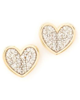 Folded Heart Post Earrings