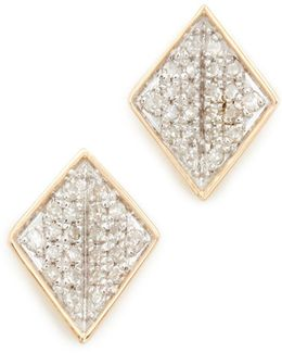 14k Gold Tiny Pave Folded Diamond Post Earrings