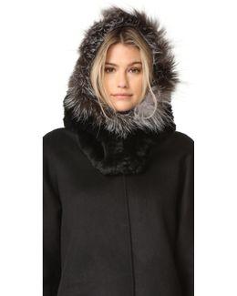 Rex Fur Hood With Fur Trim