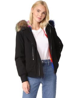 Hooded Bomber Jacket With Fur Lining