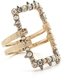 Crystal Encrusted Oversize Link Ring
