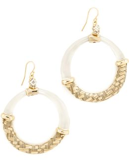 Woven Raffia Hoop Earrings