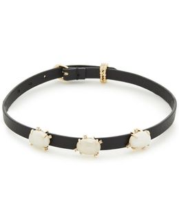 Multi Stone Convertible Leather Choker