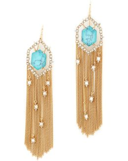 Crystal Framed Tassel Earrings