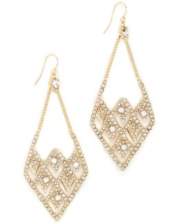 Crystal Encrusted Spiked Lattice Earrings
