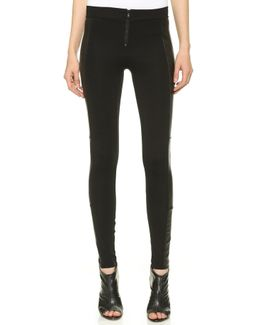 Front Zip Leggings With Leather Panels