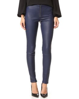 Zip Front Leather Leggings