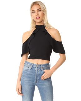 Cabot Cold Shoulder Ruffle Crop Top