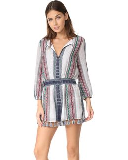Nance Embroidered Long Sleeve Romper