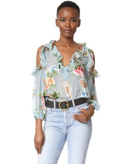Gia Ruffle Cold Shoulder Blouse