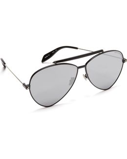 Flat Lens Teardrop Pilot Aviator Sunglasses