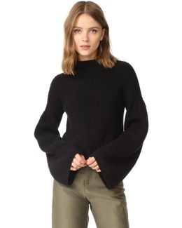 Cropped Sweater With Trumpet Sleeves