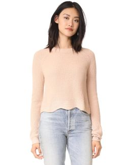 Scalloped Cashmere Shaker Sweater