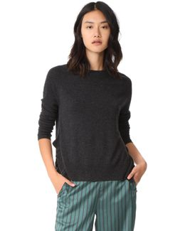 Crew Neck Sweaters With Ruffles
