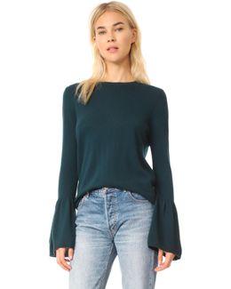Cashmere Sweater With Ruffle Cuffs