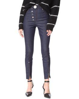 Multi Snap High Waist Skinny Jeans