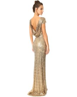 Sequin Cowl Back Gown