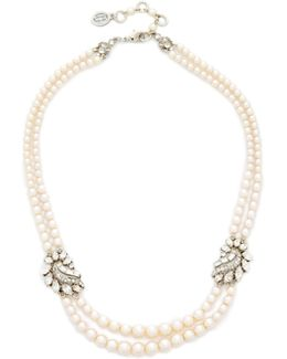 Two Row Imitation Pearl Cluster Necklace