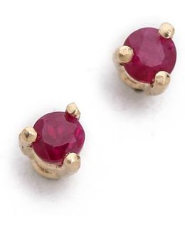 Tiny Ruby Stud Earrings